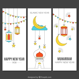 Beautiful islamic new year banners in linear style