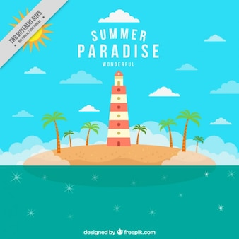 Beautiful island summer background with a houselight
