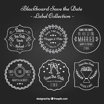 Beautiful labels about weddings on black background