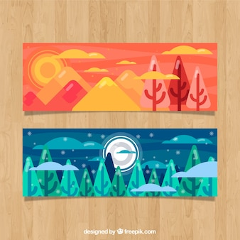 Beautiful landscape banners with trees in flat design