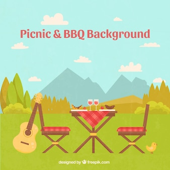 Beautiful landscape with a picnic scene background
