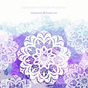Beautiful mandala with purple watercolors