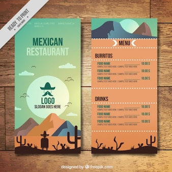 Beautiful mexican menu in the desert