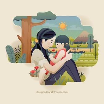 彼女の小さな娘のイラストと美しい母