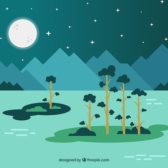 Beautiful night landscape of sea and trees