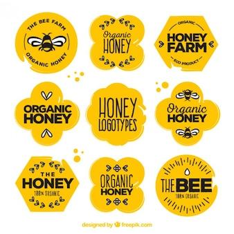 Beautiful organic honey stickers with drawings set