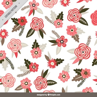 Beautiful pattern with red flowers