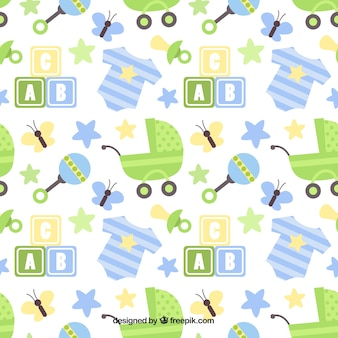 Beautiful pattern with strollers and rattles in flat design