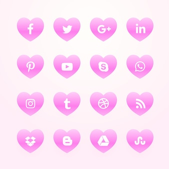 Beautiful pink hearts social media icons pack