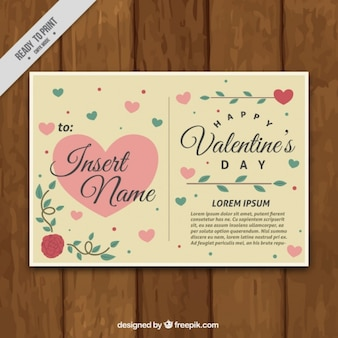 Beautiful postcard with hearts for valentine's day