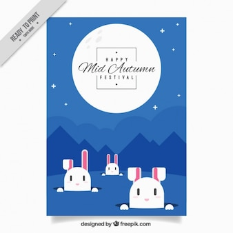 Beautiful rabbits with background in blue tones
