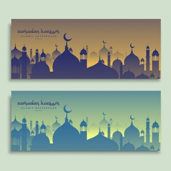 Beautiful ramadan banners set