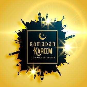 モスクで作られたフレーム付きの美しいラマダンカリームグリーティングカードデザイン