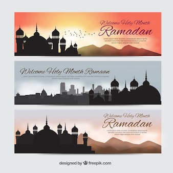 Beautiful ramandan banners with silhouettes