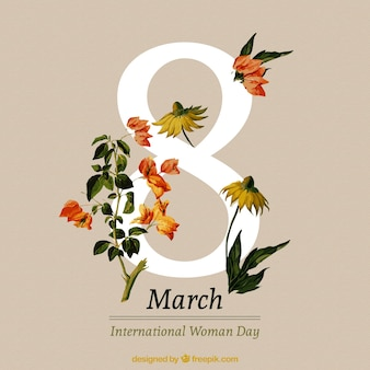 Beautiful realistic flowers women's day background