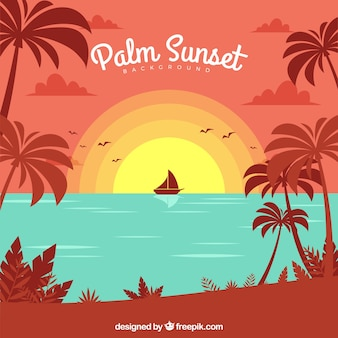 Beautiful sea background at sunset with palm trees