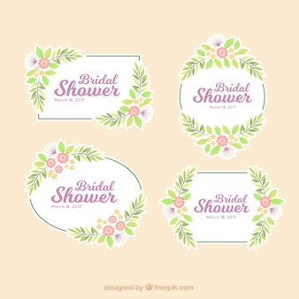 Beautiful set of bridal shower frames with flowers