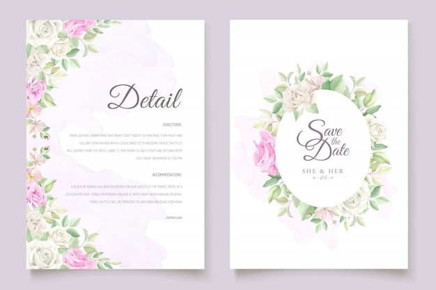 Beautiful soft floral and leaves wedding invitation card set