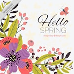 Beautiful spring background with hand-drawn flowers