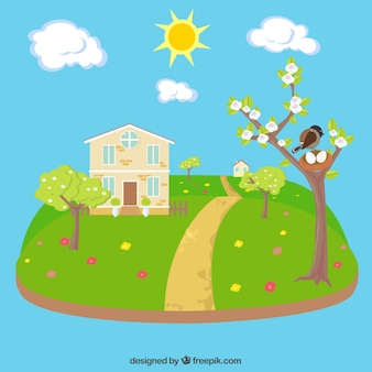Beautiful spring landscape with house