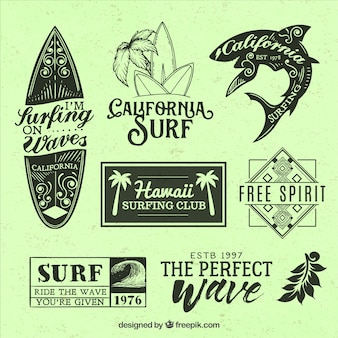 Beautiful surf themed badges