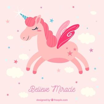Beautiful unicorn background with stars