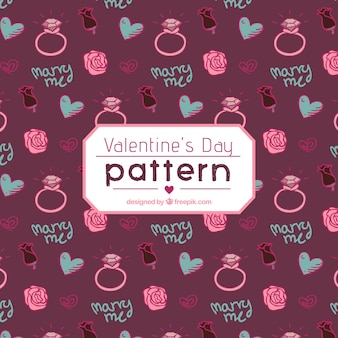 Beautiful valentine's pattern with rings and flowers