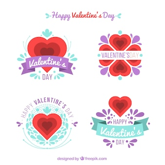 Beautiful valentine stickers with purple details