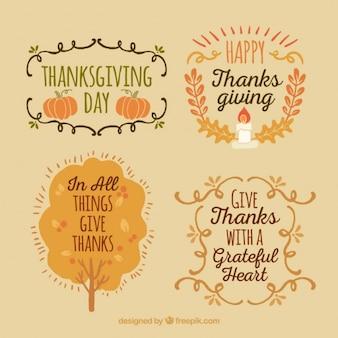 Beautiful vintage badges set of thanksgiving