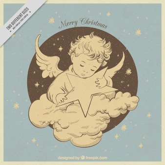 Beautiful vintage hand drawn angel with star background