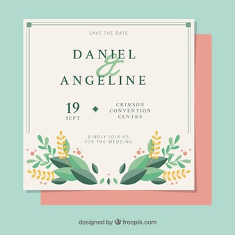 Beautiful vintage wedding invitation with floral details