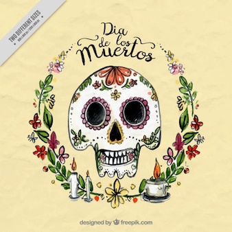 Beautiful watercolor background of mexican skull with floral details