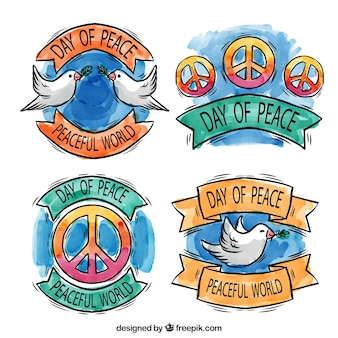 Beautiful watercolor badges peace day set