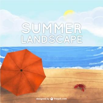 Beautiful watercolor beach landscape background