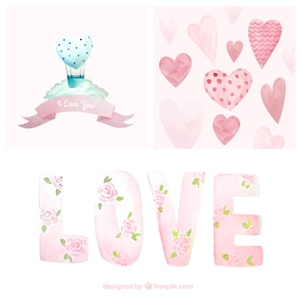 beautiful watercolor elements of valentine pack