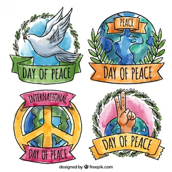 Beautiful watercolor emblems of peace day