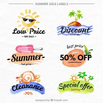 Beautiful watercolor sale labels of summer