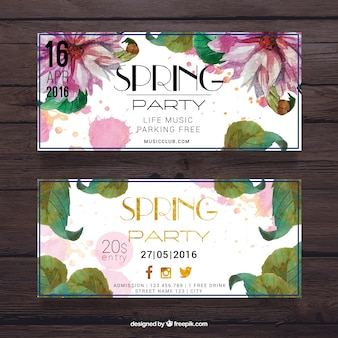 Beautiful watercolor spring party banner