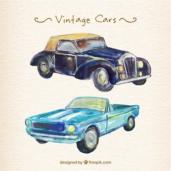 Beautiful watercolor vintage cars