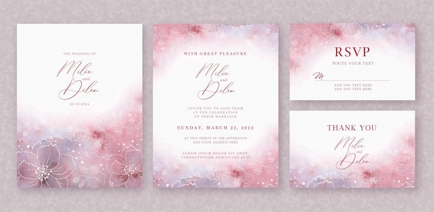 Beautiful wedding card  watercolor background with splash and floral lines