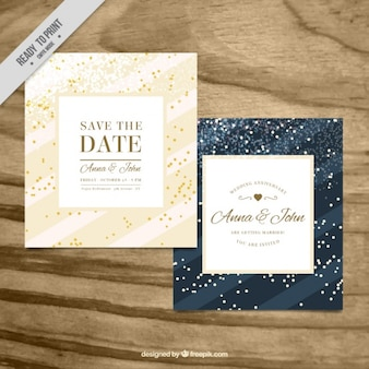 Beautiful wedding cards with confetti