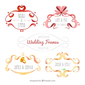 Beautiful wedding frames painted with watercolor