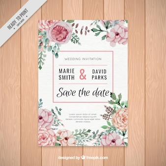 Beautiful wedding invitation of watercolor flowers