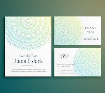美しい曼荼羅の装飾と結婚式招待挨拶カードのデザイン