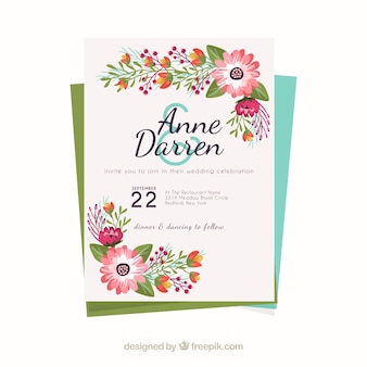 Beautiful wedding invitation with colored flowers