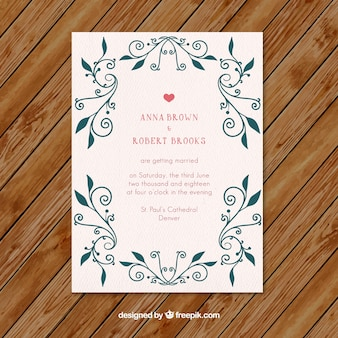Beautiful wedding invitation with floral ornaments