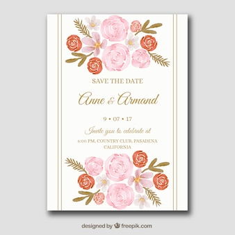 Beautiful wedding invitation with flowers in watercolor style