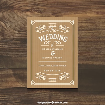 Beautiful wedding invitation with simple ornaments