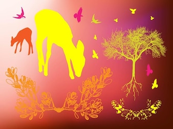 Beautiful wildlife silhouettes background