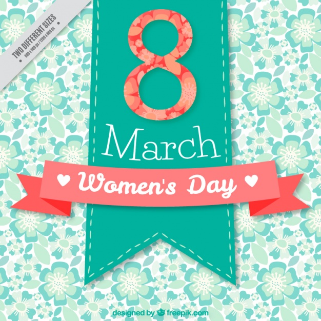 Beautiful women's day background with green flowers and red details